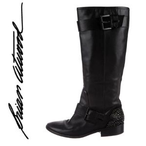 BRIAN ATWOOD Dita Flat Leather Riding Boots!